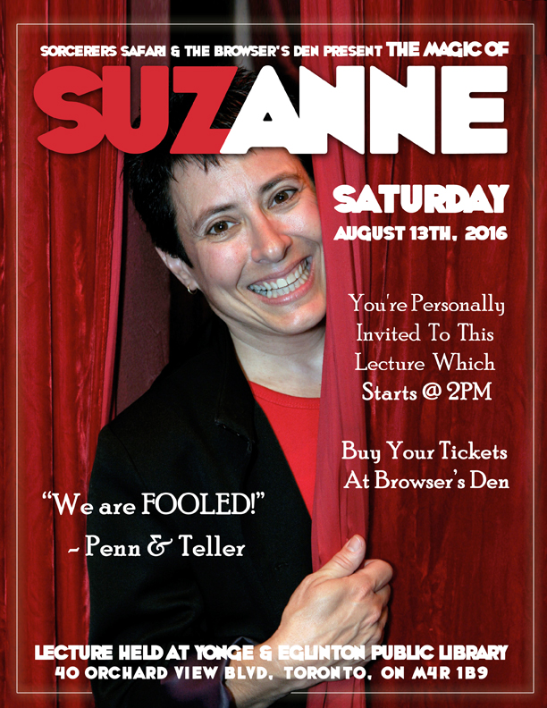 Suzanne Lecture in Toronto on Saturday August 13th, 2016 at 2PM